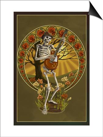 Skeleton and Guitar Prints by  Lantern Press