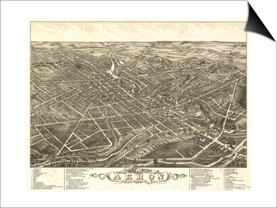 Akron, Ohio - Panoramic Map No. 2 - Akron, OH Posters by  Lantern Press