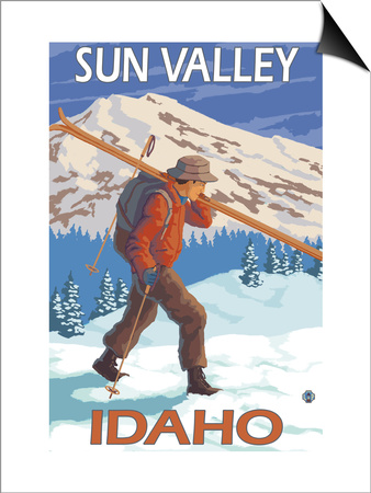 Skier Carrying Snow Skis, Sun Valley, ID Art by  Lantern Press
