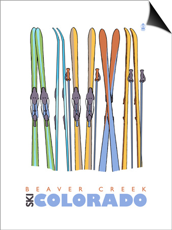 Beaver Creek, Colorado, Skis in the Snow Print by  Lantern Press