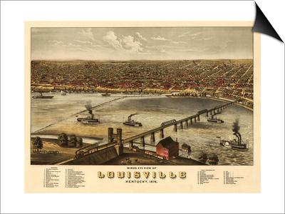 Louisville, Kentucky - Panoramic Map Posters by  Lantern Press