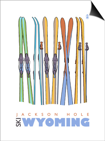 Jackson Hole, Wyoming, Skis in the Snow Posters by  Lantern Press