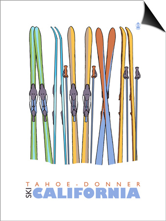 Tahoe-Donner, California, Skis in the Snow Prints by  Lantern Press