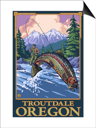 Fly Fishing Scene, Troutdale, Oregon Prints by  Lantern Press