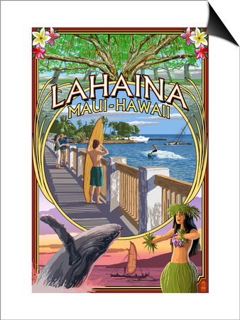 Lahaina, Maui, Hawaii - Town Scenes Montage Posters by  Lantern Press