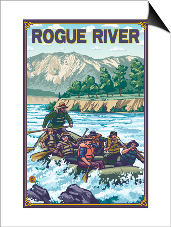 White Water Rafting, Rogue River, Oregon Prints by  Lantern Press