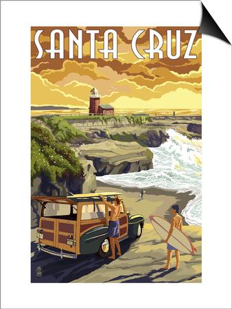 Santa Cruz, California - Woody and Lighthouse Prints by  Lantern Press