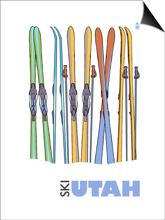 Utah, Skis in the Snow Prints by  Lantern Press