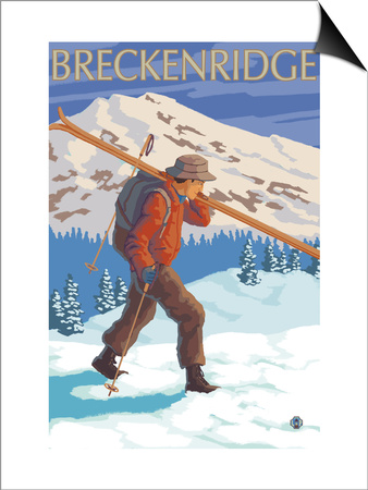 Breckenridge, Colorado, Skier Carrying Skis Prints by  Lantern Press