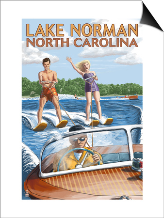 Lake Norman, North Carolina - Water Skiing Prints by  Lantern Press