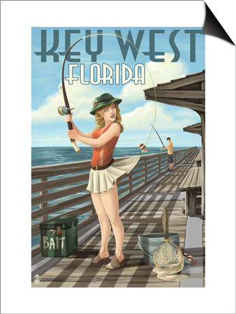 Key West, Florida - Fishing Pinup Girl Print by  Lantern Press