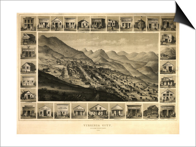 Virginia City, Nevada - Panoramic Map Posters by  Lantern Press