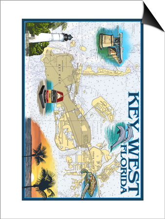 Key West, Florida - Nautical Chart Poster by  Lantern Press