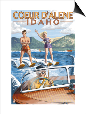 Coeur D'Alene, Idaho - Water Skiing Scene Art by  Lantern Press