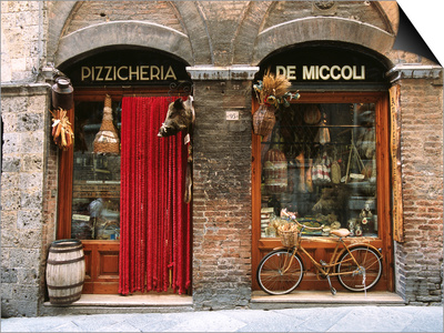 Bicycle Parked Outside Historic Food Store, Siena, Tuscany, Italy Prints by John Elk III