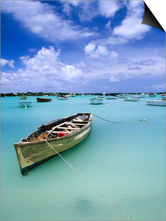 Fishing Boats Anchored in Lagoon Poster by Olivier Cirendini