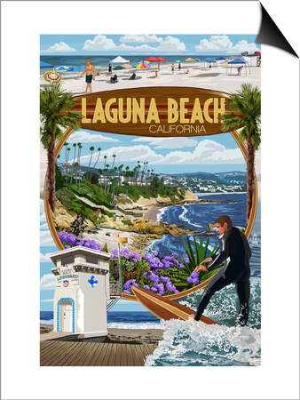 Laguna Beach, California - Montage Scenes Art by  Lantern Press