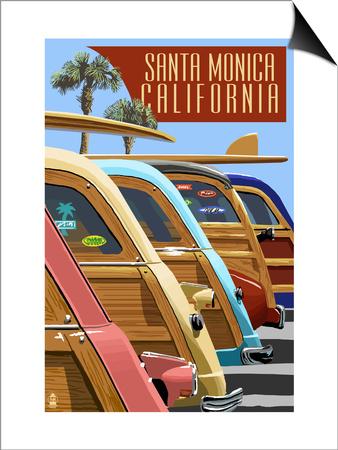 Santa Monica, California - Woodies Lined Up Prints by  Lantern Press