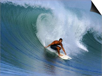 Surfer on Wave, Lagundri Bay, Pulau Nias, North Sumatra, Indonesia Prints by Paul Kennedy