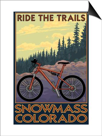 Snowmass, Colorado - Mountain Bike Prints by  Lantern Press