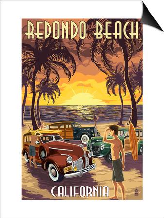 Redondo Beach, California - Woodies and Sunset Prints by  Lantern Press