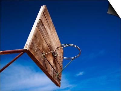 Basketball Net Against Blue Sky Art by Kimberley Coole