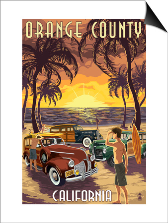 Orange County, California - Woodies and Sunset Posters by  Lantern Press