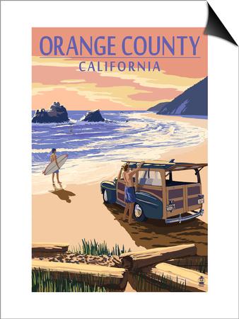 Orange County, California - Woody on Beach Prints by  Lantern Press