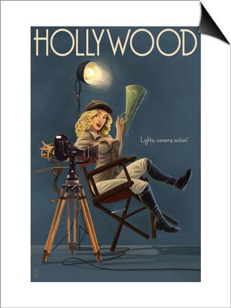 Hollywood, California - Directing Pinup Girl Poster by  Lantern Press