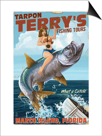 Marco Island, Florida - Pinup Girl Tarpon Fishing Posters by  Lantern Press