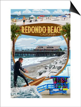 Redondo Beach, California - Montage Scenes Prints by  Lantern Press
