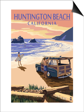 Huntington Beach, California - Woody on Beach Posters by  Lantern Press