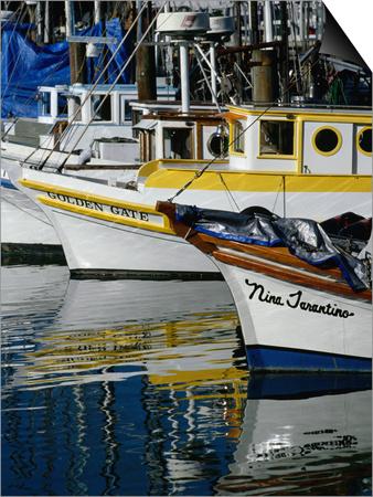 Fishing Boats at Fishermans Wharf, San Francisco, California, USA Print by Roberto Gerometta