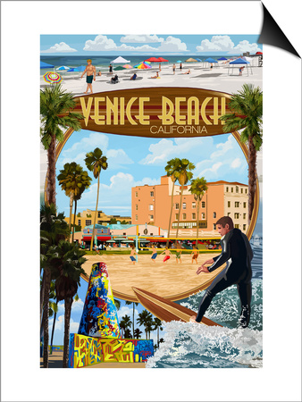 Venice Beach, California - Montage Scenes Prints by  Lantern Press