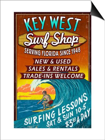 Key West, Florida - Surf Shop Posters by  Lantern Press!