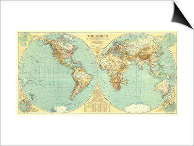 1935 World Map Posters by  National Geographic Maps