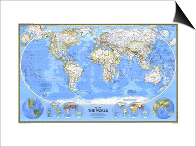 1988 World Map Poster by  National Geographic Maps