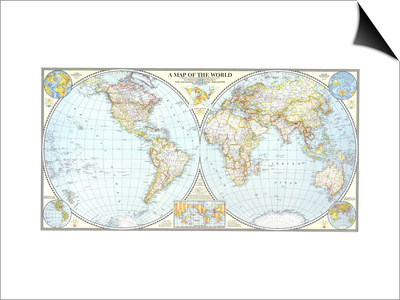 1941 World Map Poster by  National Geographic Maps