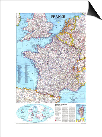 1989 France Map Prints by  National Geographic Maps
