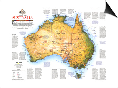 1988 Travelers Look At Australia Map Prints by  National Geographic Maps