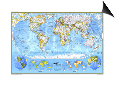 1994 World Political Map Posters by  National Geographic Maps
