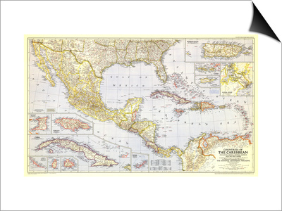 1947 Countries of the Caribbean Map Prints by  National Geographic Maps