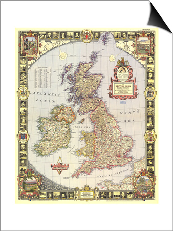 1949 British Isles Map Prints by  National Geographic Maps!