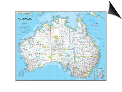 Australia Political Map Poster by  National Geographic Maps