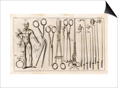 Selection of Medical Appliances Including Forceps and a Hook to Extract Bullets Art by  Heister