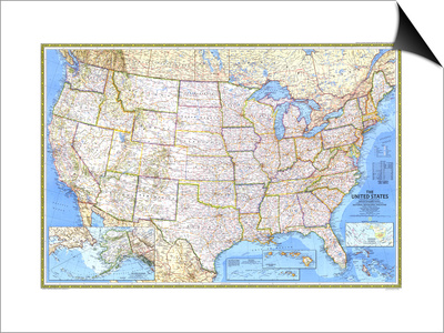 1987 United States Map Posters by  National Geographic Maps