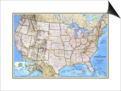 1993 United States Map Art by  National Geographic Maps