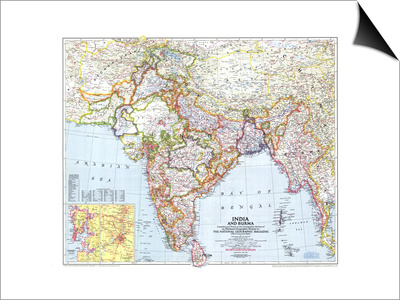 1946 India and Burma Map Posters by  National Geographic Maps