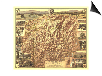 1937 White Mountains of New Hampshire Map Posters by  National Geographic Maps