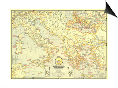 1940 Classical Lands of the Mediterranean Map Prints by  National Geographic Maps